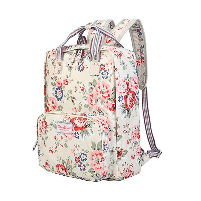 Waterproof PVC Canvas Floral Patterns Lady Backpack Bag (99151)