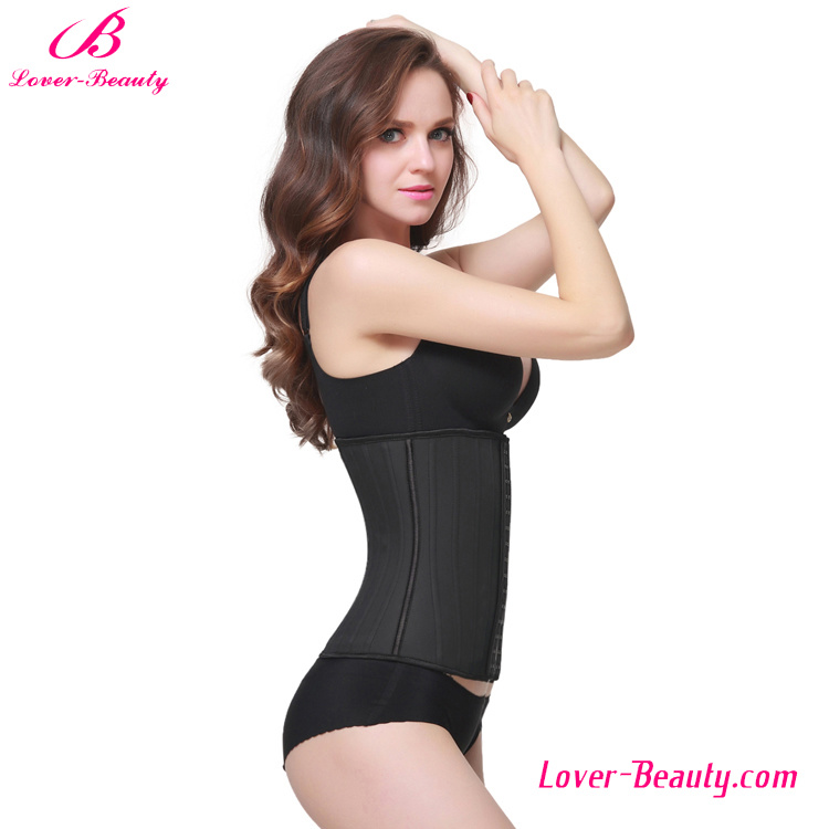 Compression Black Latex 25 Steel Boned Girdle Waist Cincher