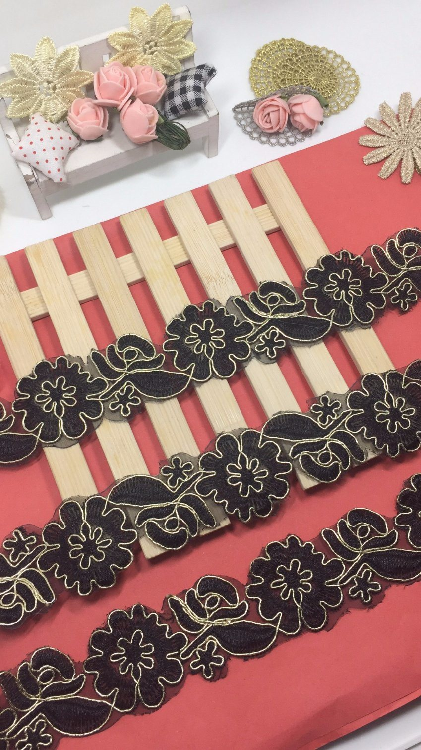 New Design 4.5cm Width Coiling Embroidery Trimming Lace for Garments Accessory & Home Textiles & Curtains