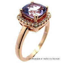 Romantic Style 925 Sliver Wedding Ring Golden with Heart Shape Stone (R0077py)