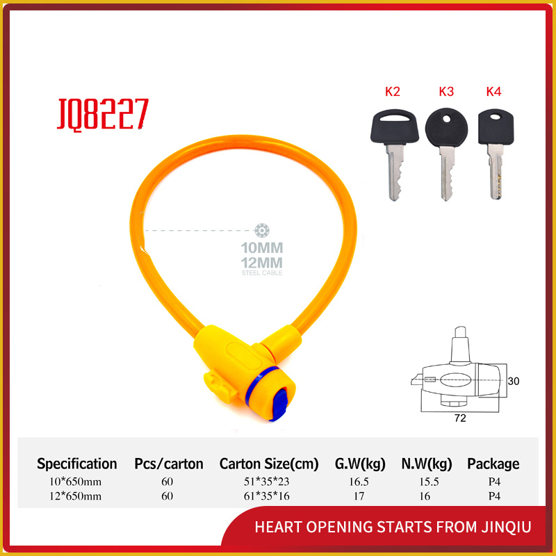 Jq8227 Multi-Function Steel Cable Lock Bicycle Lock