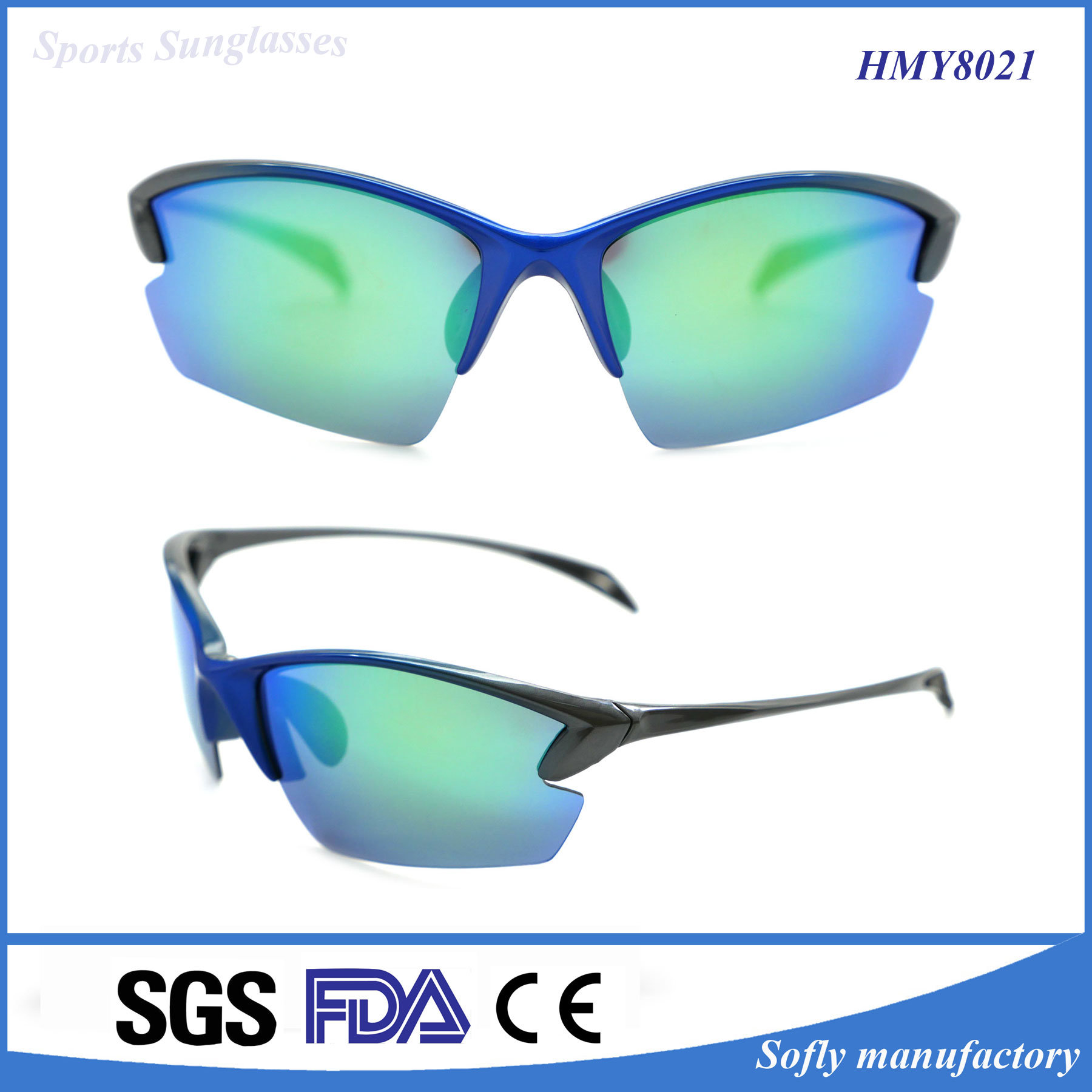 Soflying Fashion Green Polarized Sport Sunglasses for Outdoor Racing