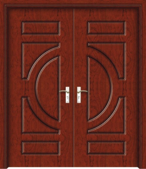 China double wooden door sw2106 china double wooden for Double door wooden door