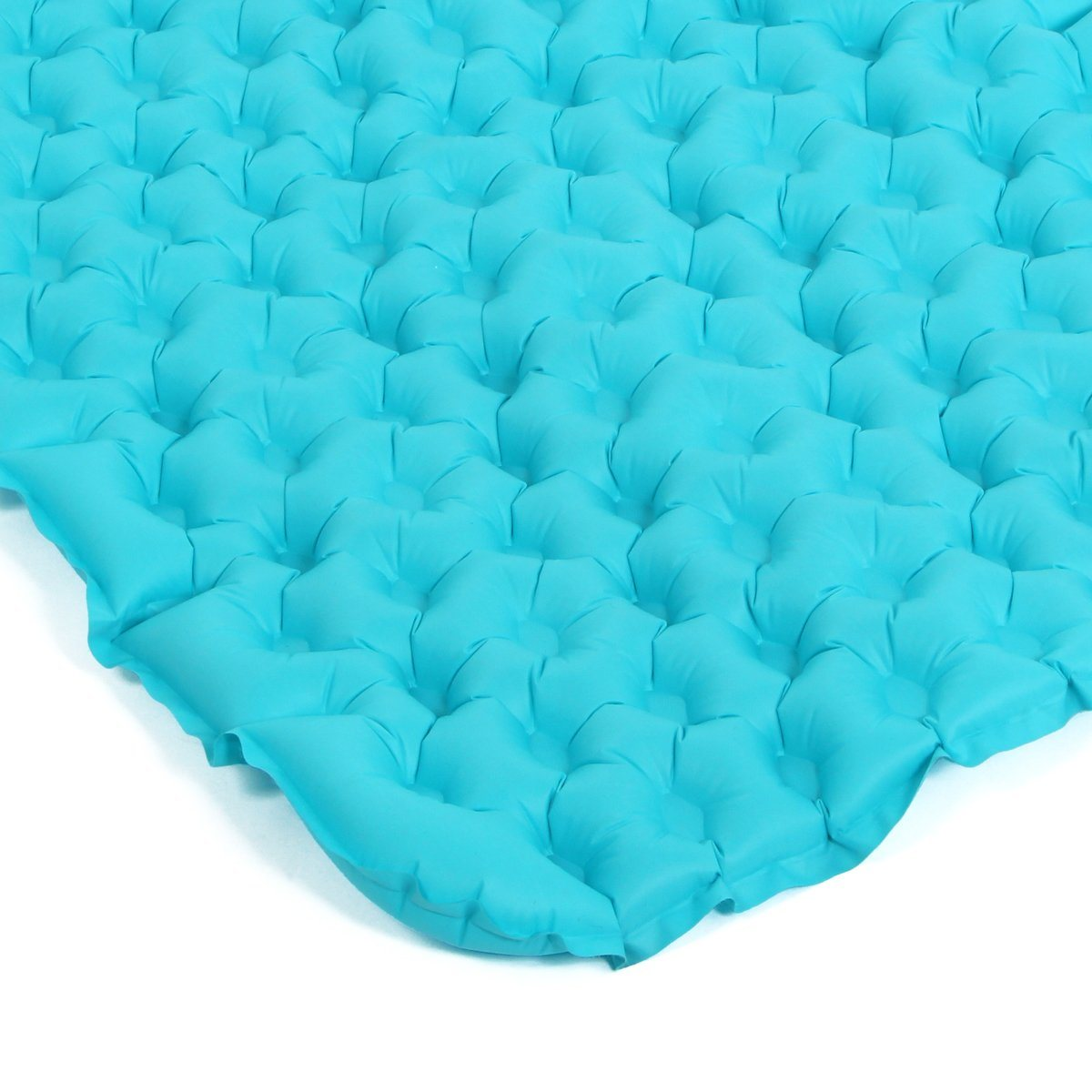 Inflatable Fabric Camping Mattress with Built-in Pillow