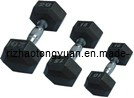 Black Hexagnal Rubber Covered Dumbbell