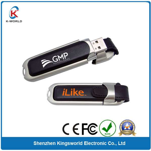 Best Leather USB Flash Disk USB 2.0 with Cap (KW-0081)