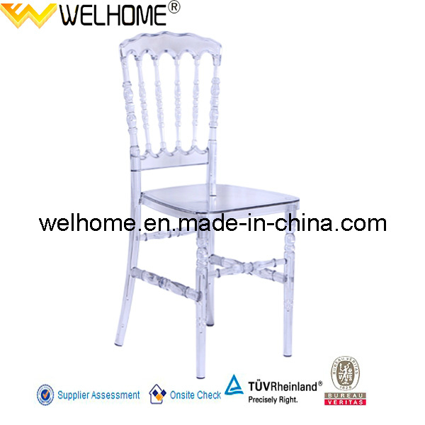 High quality clear resin napoleon chair for rental
