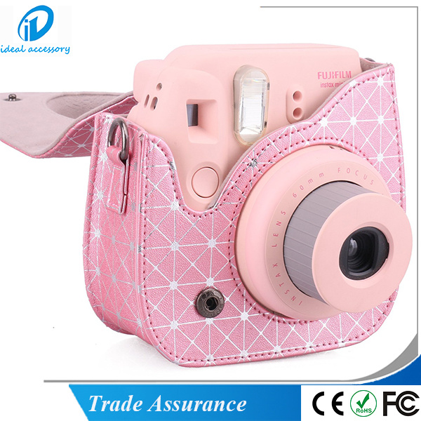 New Style Pink Stripe Fujifilm Instax Instant Mini8 Camera Case Bag