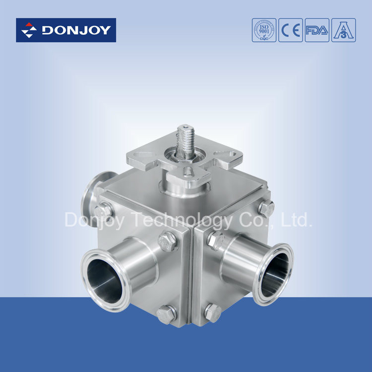 Ss 304 Three-Way Pneumatic Non-Retention Ball Valve with Clamped Ends