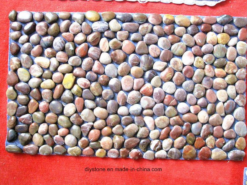 Red Pebble Stone Thin Bath Mat for Bathroom
