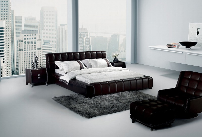 American Style Genuine Leather Bed (SBT-5802)