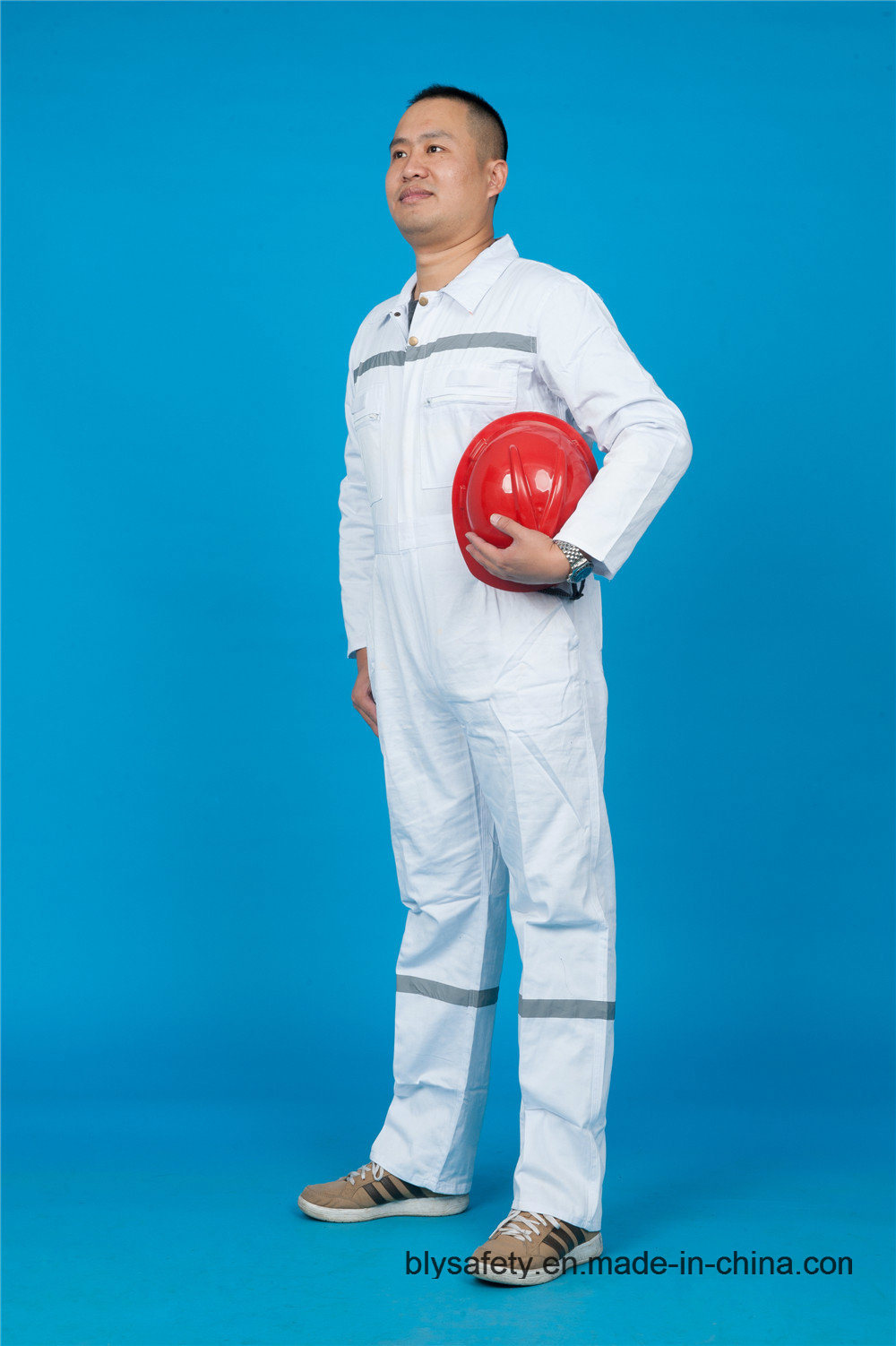 65%P 35%C Long Sleeve High Quality Safety Coverall Workwear with Reflective (BLY1021)