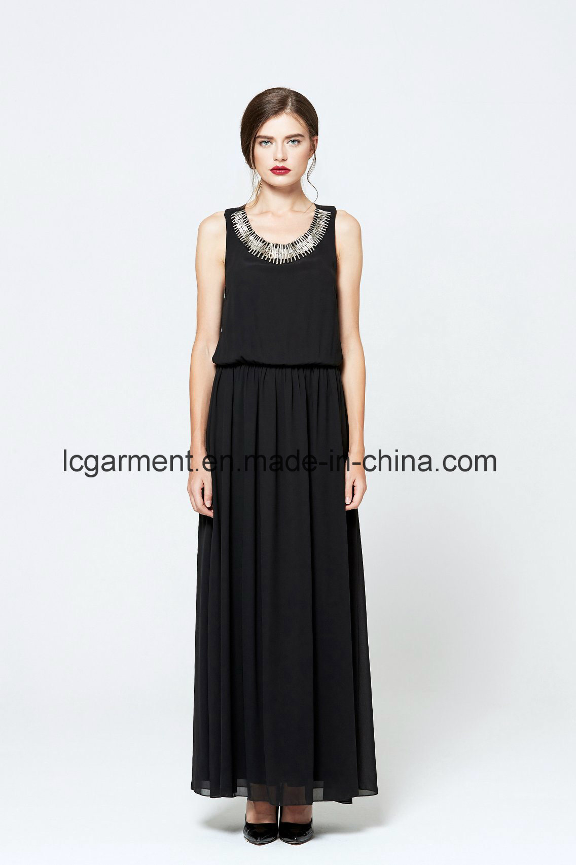 Black Chiffon Woman Dress Sleeveless Halter Neck Backless Maxi Latest Dress