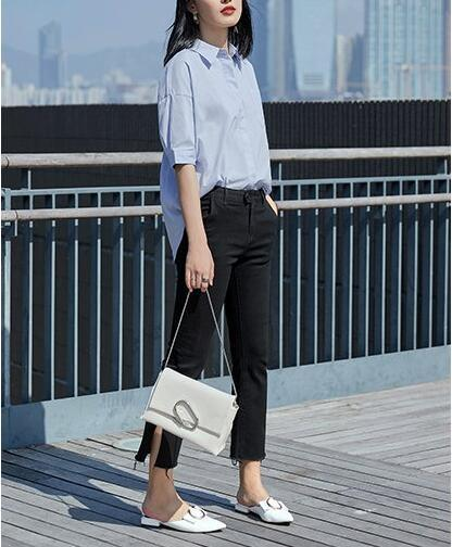 Light Blue Short Sleeve Round Neck Simple Ladies Shirt