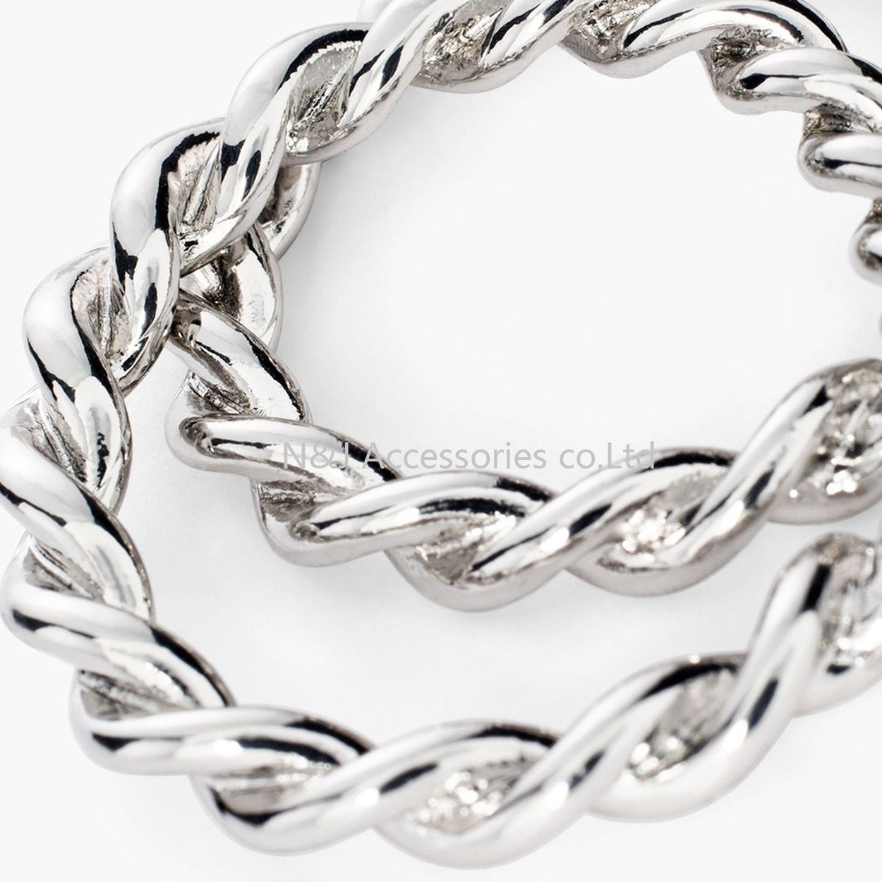 Punk Hoop Earrings Silver Plated Fashion Jewelry Wholesale Twisted Round Earrings for Women
