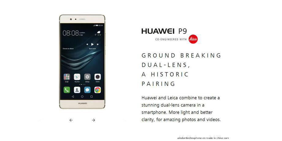 "International Firmware Huawei P9 5.2"" Fingerprint Mobile Phone 12MP*2 Hisilicon Kirin 955 Octa Core 3GB RAM 32GB ROM Smart Phone White"
