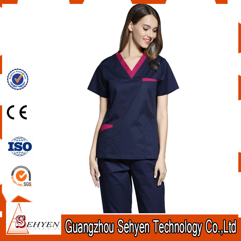 Wholesale V-Neck Medical Uniform Reversible Scrubs of Cotton