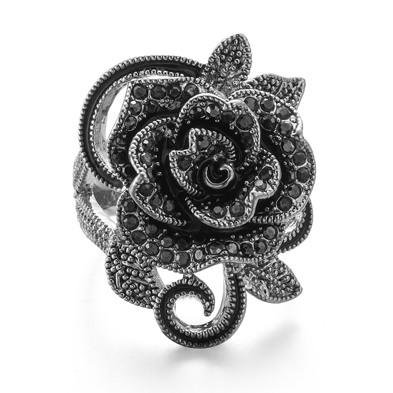 VAGULA Vintage Black Rhinestone Rose Flower Silver Women′s Ring
