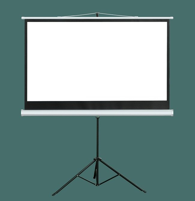 92 Inch Portable & Movable Office Projector Matte White Tripod Projection Screen for T92uwh