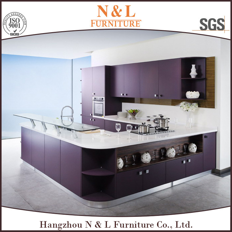 Red Color High Gloss Lacquer Wood Kitchen Cabinet