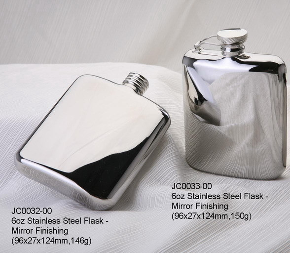 Stainless Steel 304 Grade Hip Flask Mirror Finishing W/ Leather Pouch