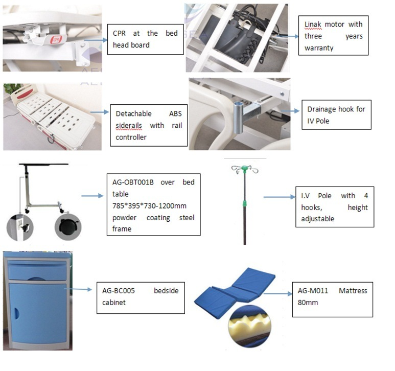 AG-By003c Used for Intensive Care Adjustable Five-Functions Electric Hospital Bed for Paralyzed Patients