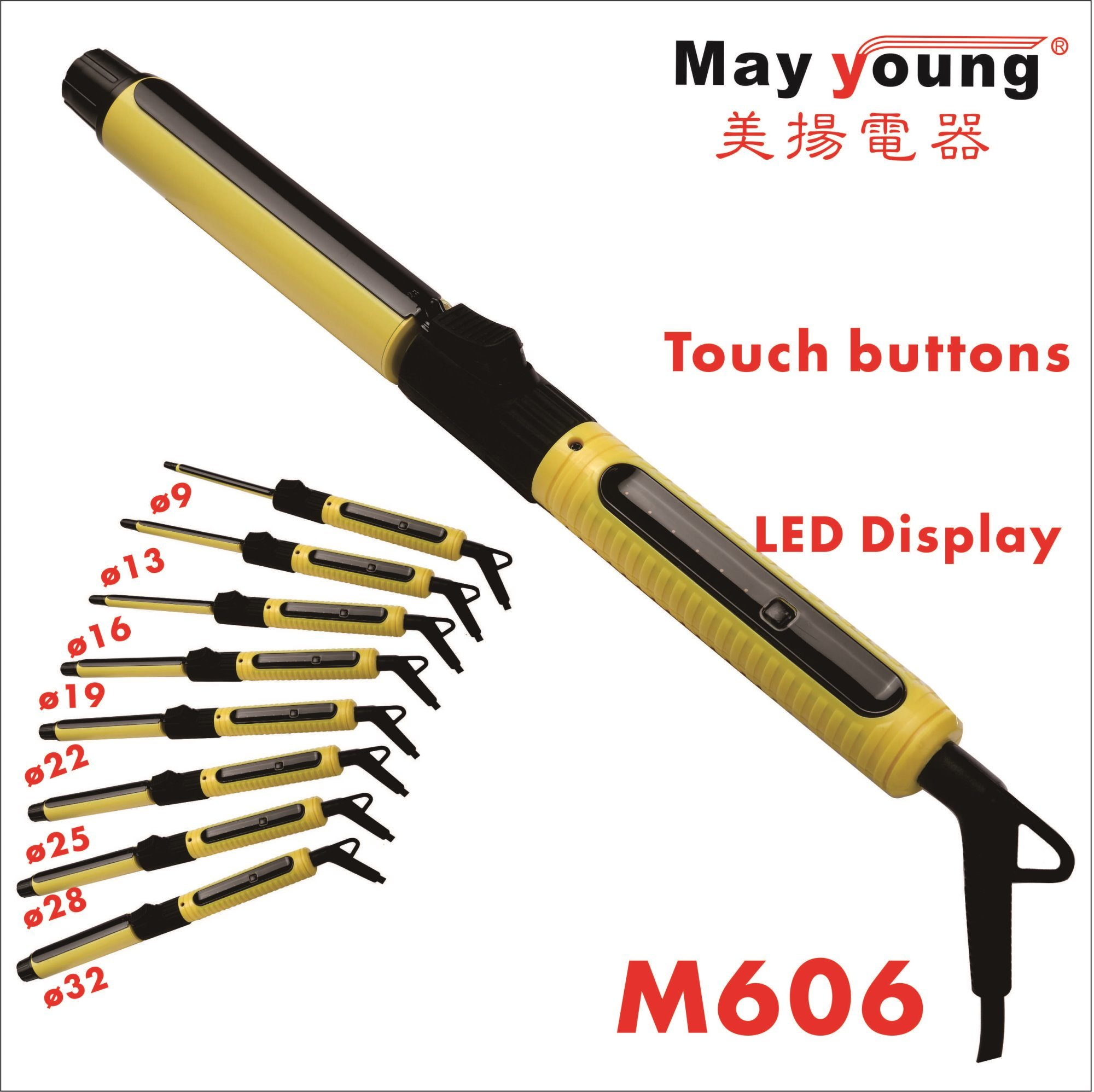 2017 New 9 Sizes LCD Display Hair Curler Rotating Hair Curling Iron