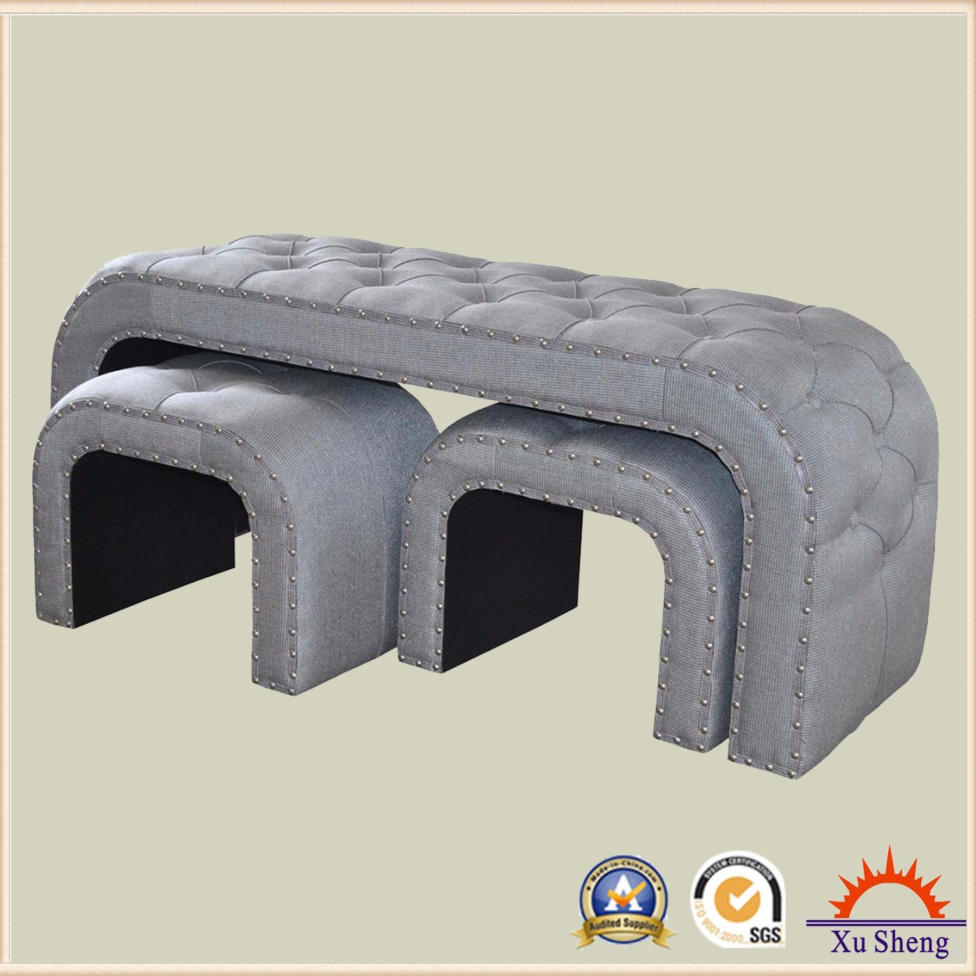 Upholstered Curved Button Tufted Fabric Bench Ottoman