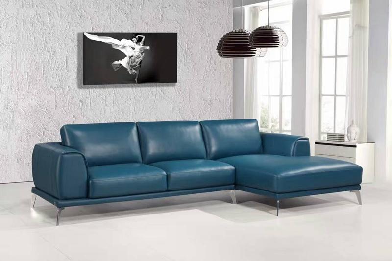 Modern L Shape blue Color Leather Sofa (L037)