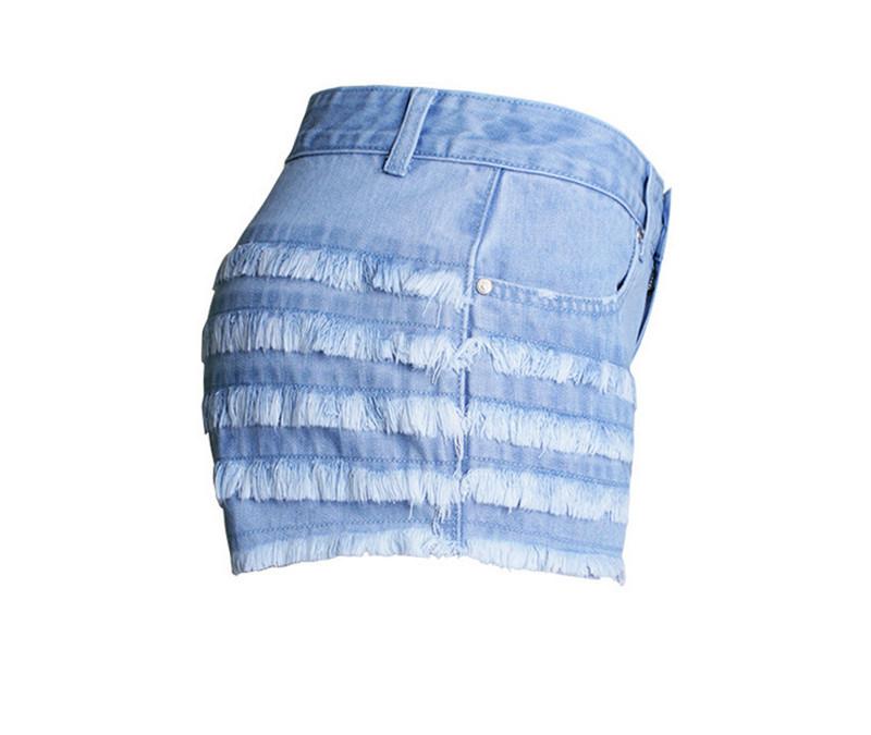 Summer Fashion Latest Slim European Light Blue Short Lady′s Jeans Pants