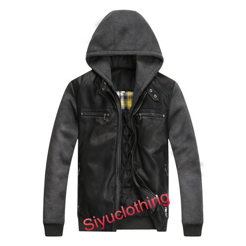 Men Mature Leather Hoody Casual Design Warm Winter Windproof Jacket (J-1619)