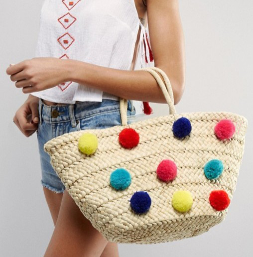 POM-POM Decoration Beach Straw Tote Bag (LD-17001)