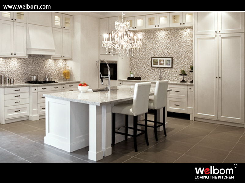 China ISO Welbom European Style Vinyl Wrap High End Kitchen Furniture