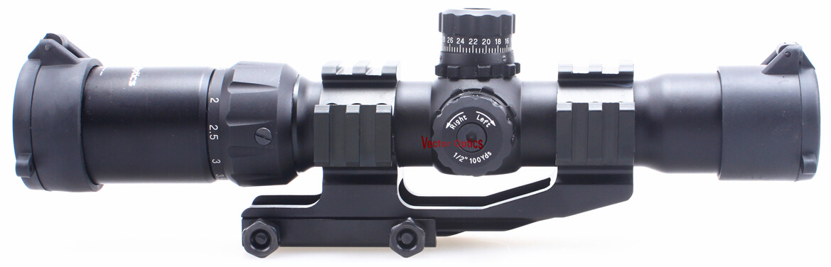 Vector Optics Mustang 1.5-4X 30mm Tactical Rifle Scope Chevron Reticle with One Piece Cantilever Weaver Mount for. 223 Ar15 M4 Plate