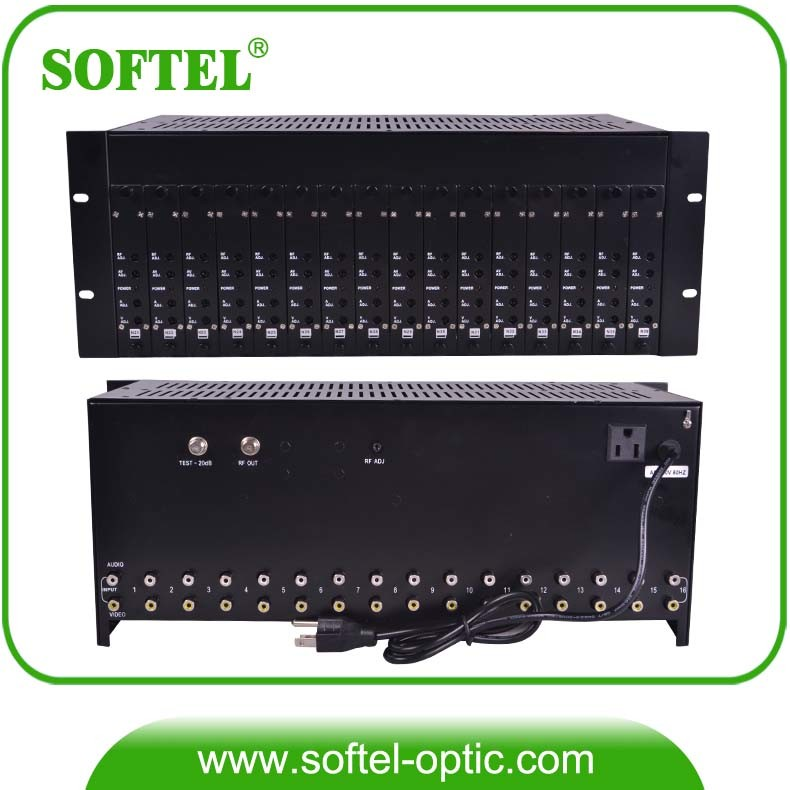 4u Rack CATV 16 in 1 Agile Modulator