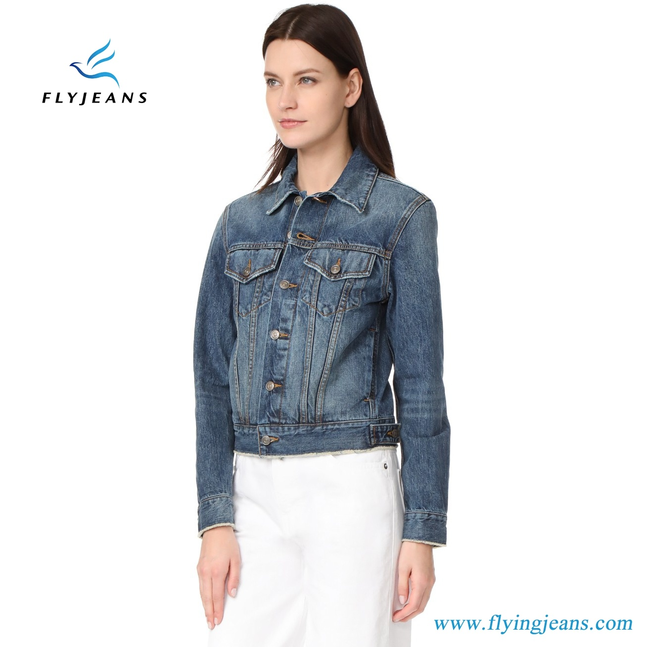 Women Clothes Fashion Classic Casual Ladies Denim Jeans Jacket