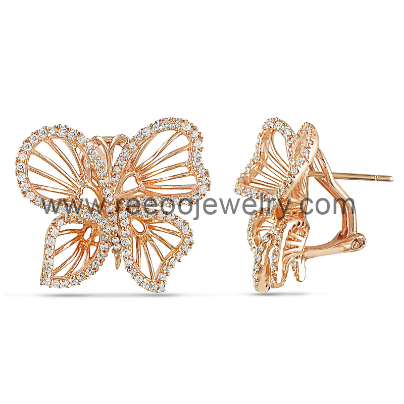 Omega Back Butterfly Silver Earrings