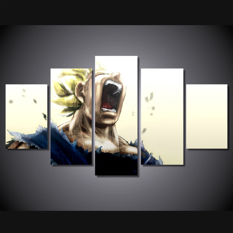 Printed Vegeta Dragon Ball Z Super Saiyan Painting Canvas Print Room Decor Print Poster Picture Canvas Mc-065