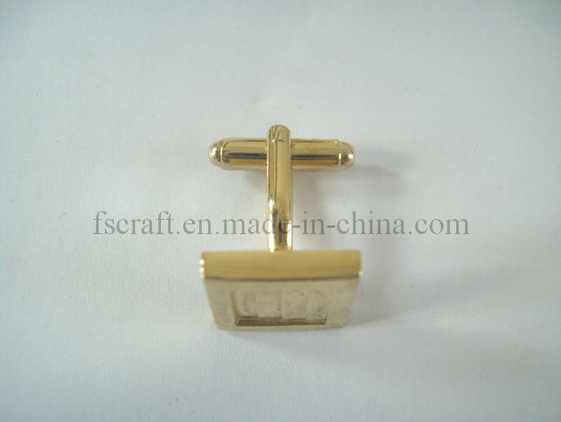 Die Struck Bright Gold Plating Cuff Link