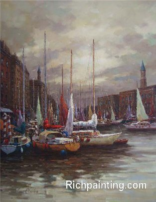 oil paintings. Knife Oil Paintings-Boat On