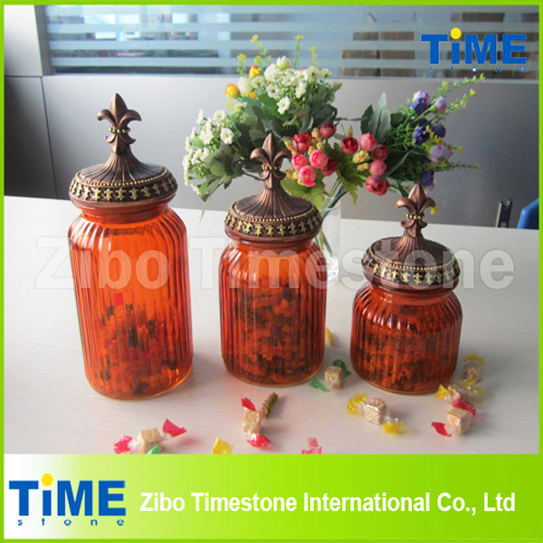 Set of 3 Colorful Glass Bottle with Lid