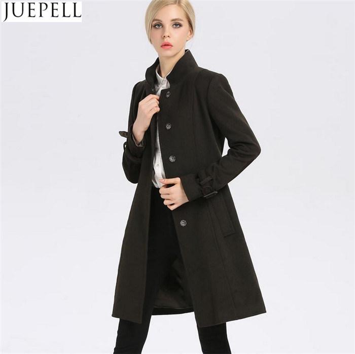 New Women′s Autumn and Winter Wool Coat Women Windbreaker and Long Sections Slim Woolen Collar Women Coat