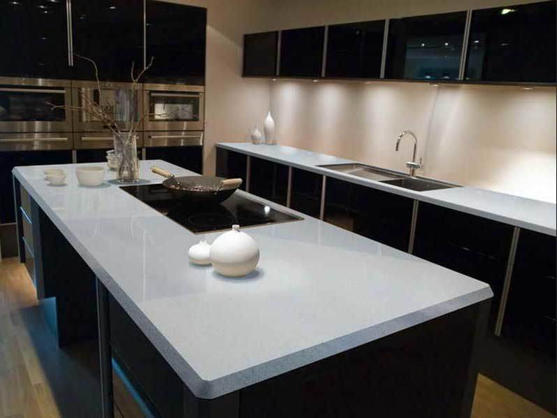 China wholesales cheap white man made quartz countertop for What is quartz countertops made of