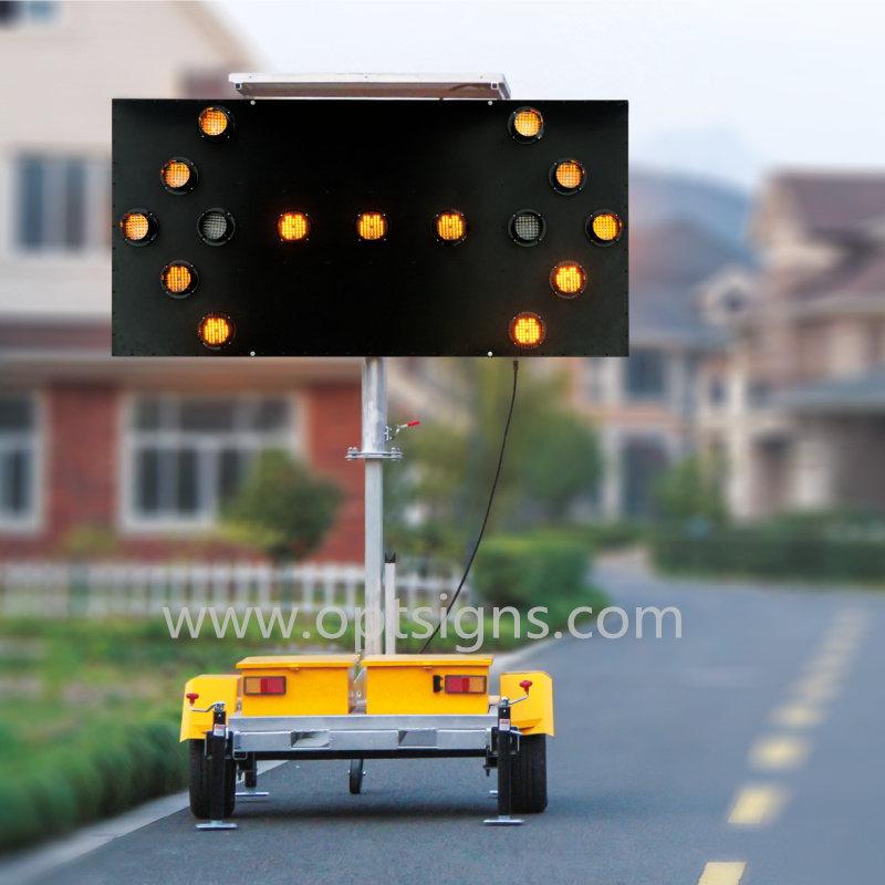 Solar Powered Portable Traffic Control Flashing LED Arrow Boards