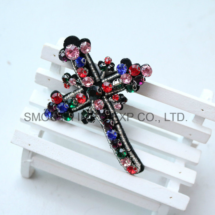 Fashion Promotion Clothing DIY Accessories Rhinestone Beaded Cross Embroidery Patch