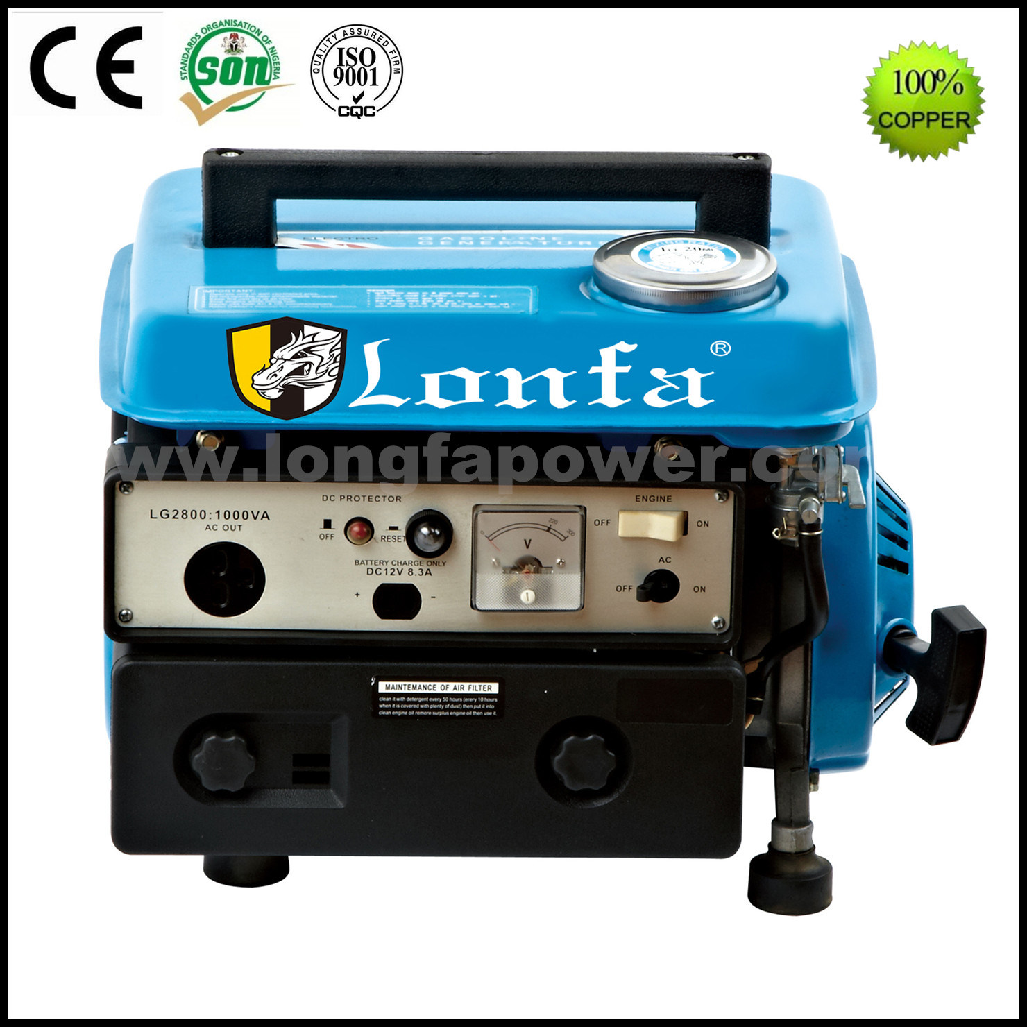 China Lonfa Small Portable Home Use Gasoline Generator 950 Watts