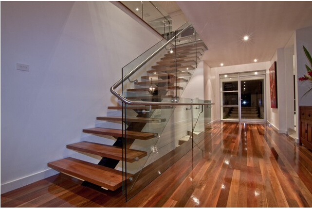 Wooden Floating Staircase /Wood Folding Stairs / Build Floating Staircase
