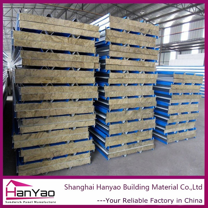 100mm/150mm/200mm Fireproof Steel Rock Wool Sandwich Panel for Wall
