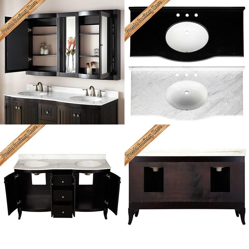 Fed-1828 China 60 Inch Double Sinks Modern White Bathroom Furniture