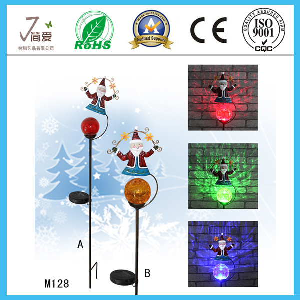Santa Claus Solar Iron Art and Crafts for Gardeon Decoration